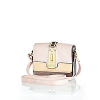 Girls pink metallic boxy bag