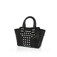 Girls black studded tote bag