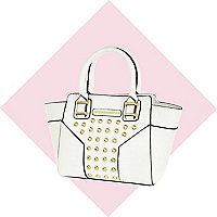 Girls white studded tote bag