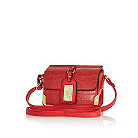 Girls red luggage tag cross body bag