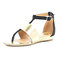 Girls gold metallic and black wedge sandal