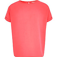 Girls bright pink oversized top
