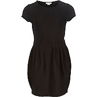 Girls black textured dress