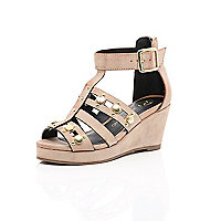 Girls rose gold studded gladiator wedge