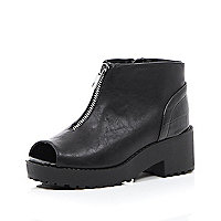 Girls black chunky peep toe zip front boot