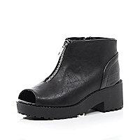Girls black chunky peep toe zip front boot