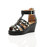 Girls black gladiator wedge