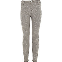 Girls grey embellished jeggings