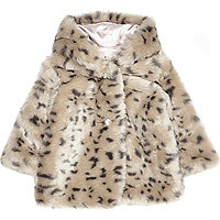 Mini girls cream leopard print faux fur coat