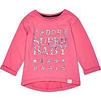 Mini girls bright pink j'adore t-shirt