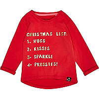 Mini girls red Christmas list t-shirt