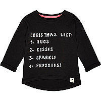 Mini girls black christmas list t-shirt