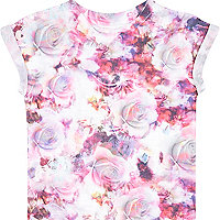 Mini girls pink floral print t-shirt