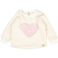 Mini girls cream heart borg jumper