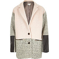 Girls pink colour block swagger coat