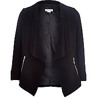 Girls black waterfall crepe jacket