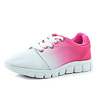 Girls pink contrast fade out trainers