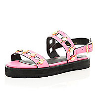 Girls pink gold detailed flatform sandals