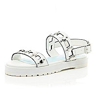 Girls white silver detailed flatform sandal