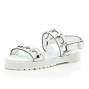 Girls white silver detailed flatform sandal