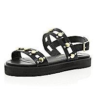 Girls black chunky gladiator sandals