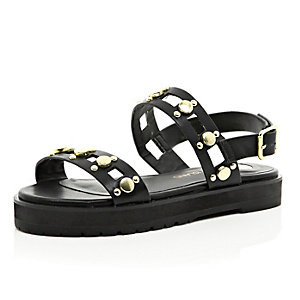 Girls black gold detailed flatform sandal