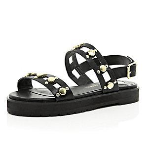 Girls black gold detailed flatform sandal