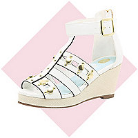 Girls white gladiator wedge