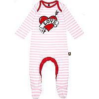 Mini girls pink stripe love heart sleepsuit