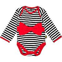 Mini girls black stripe bow bodysuit