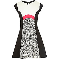 Girls black jacquard rose fit and flare dress