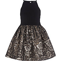 Girls black jacquard prom dress