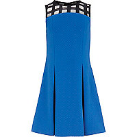 Girls blue fit and flare mesh dress