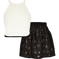 Girls cream cami top and black skirt set