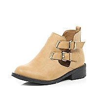 Girls tan double buckle boot