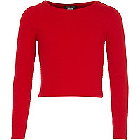 Girls red textured ballerina top