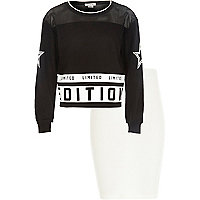 Girls black limited edition sweat and skirt