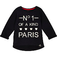 Mini girls black no.1 paris t-shirt