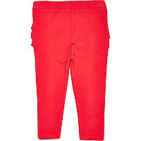 Girls red ruffle bum legging