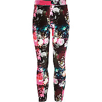 Girls black floral velvet leggings