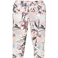 Mini girls pink floral ruffle bum leggings