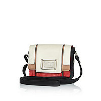 Girls red colour block boxy bag