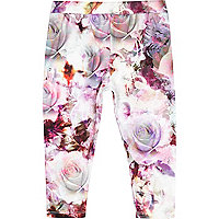Mini girls pink rose print leggings