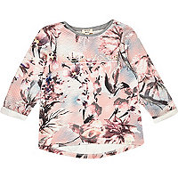 Mini girls pink floral sweatshirt