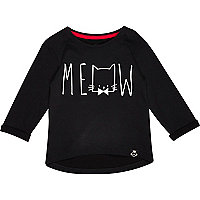 Mini girls black meow print t-shirt