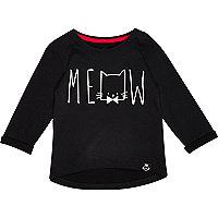 Mini girls black meow print t-shirt