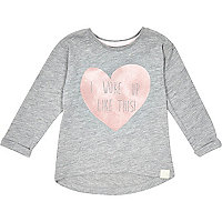 Mini girls grey I woke up like this t-shirt
