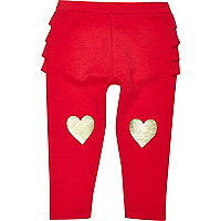 Mini girls red heart knee leggings