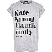 Girls grey supermodel names tee