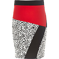 Girls black rose jacquard tube skirt